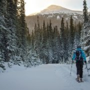 a backcountry skier hikes toward a mountain view