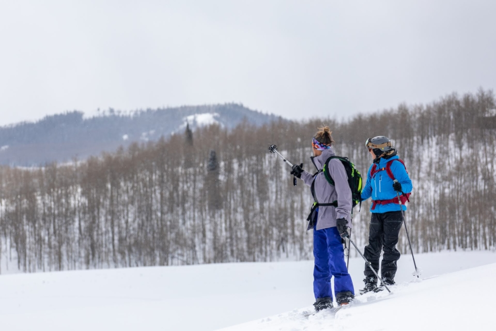 Two backcountry skiers in a snowy landscape look at the slopes in the distance.